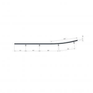 Tekening en maatvoering Betonlook leuning 286cm